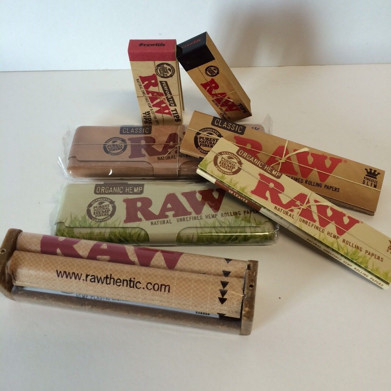 """""""RAWTHENTIC"""" RAW ROLLING PAPER KING SIZE BUNDLE - ROLLER +PAPERS +TIPS +TINS"""