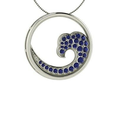 Natural Blue Sapphire Necklace / Waves Pendant in 14k White
