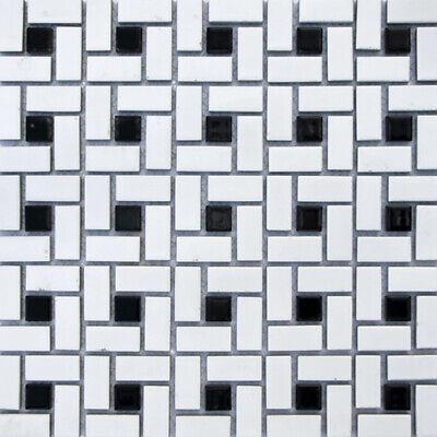 Soho White Matte with Black Dot Pinwheel Porcelain Mosaic, Floor And Wall Tile 5
