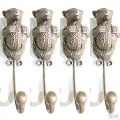 4 SQUIRREL HOOK aged solid heavy BRASS old vintage style natural 6.1/2