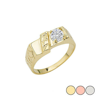 Solid Gold Pinky Nugget with CZ Solitaire Ring in (Yellow/Rose/White) In 10K  Solitaire Square Ring