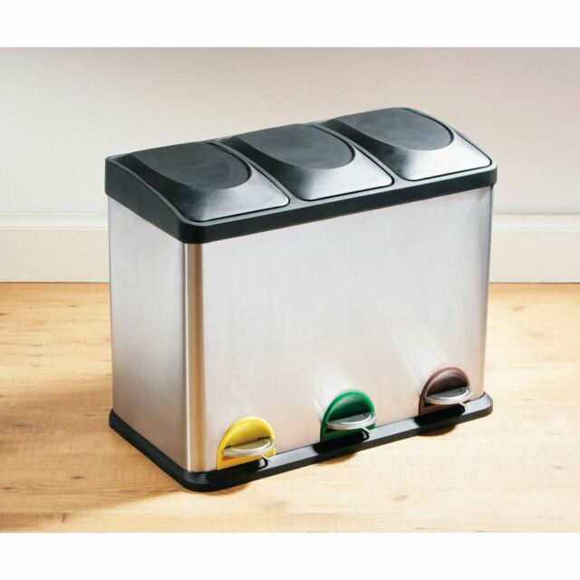 Recycle Pedal Bin, 45L Stainless Steel with 3 Compartments