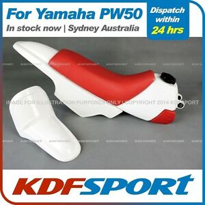 KDF - PW50 Plastics Fenders + Tank (White) + Seat (Red) For Yamaha PW50 PY50 Pee
