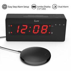 TimeShaker Loud Dual Alarm Clock w Super Vibrating Bed Shaker, Alert Light, More