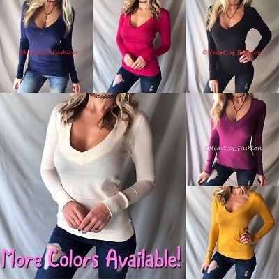Deep V-neck Knit Top (Women's Basic Deep V-Neck Low Cut Lightweight Knit Long Sleeve Sweater Top Shirt)