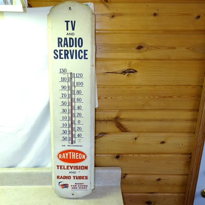 "Vintage Raytheon TV Radio Service, Tubes, Tombstone Thermometer, Ad, Large 36"""