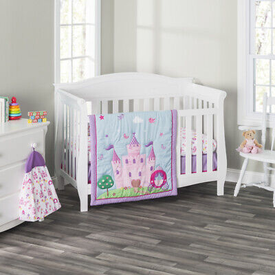 Everyday Kids 3 Piece Girls Crib Bedding Set -Princess Storyland