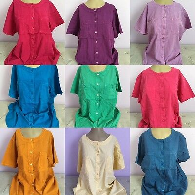 Woman Within Crinkle Cotton Shirt Top Blouse Plus Size 1X 2X 3X 4X 5X New