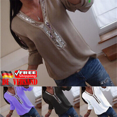 Patchwork-t-shirt Top (Damen V-Neck Pailletten Patchwork T-shirt Freizeit Oberteile Locker Blusen Top)