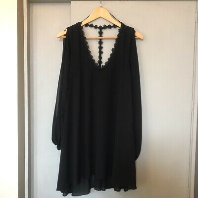 Kiss The Sky - Black Chiffon Swing Dress With Cut Out Sleeves