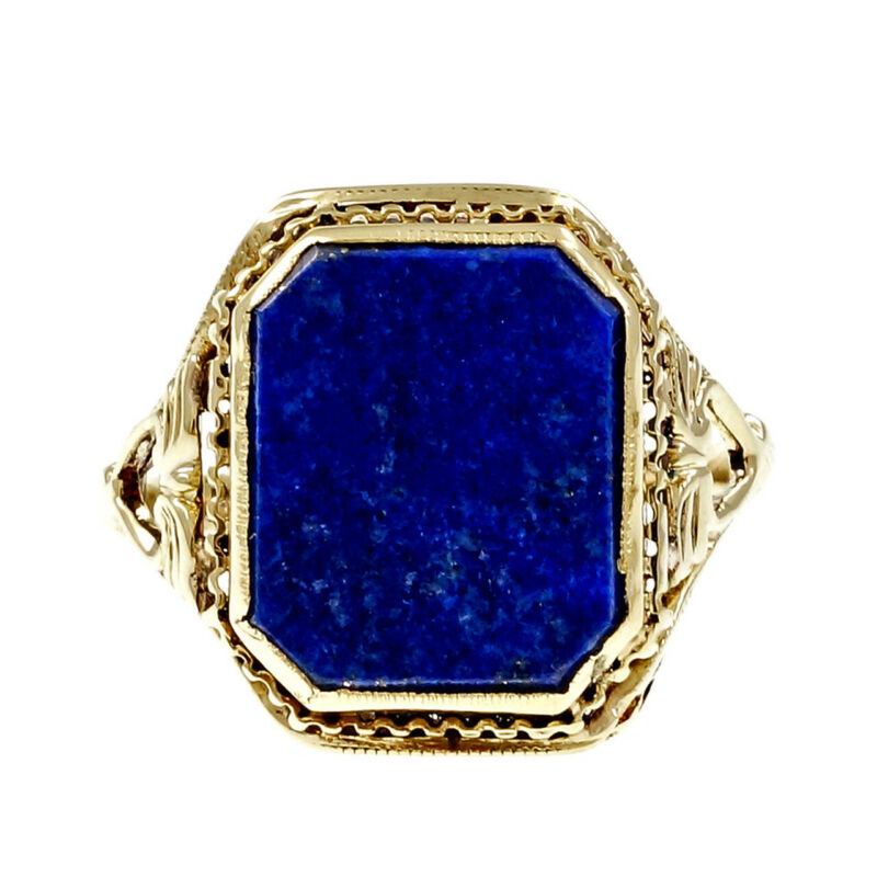 Estate 1950 Lapis Filigree Ring 14k Yellow Gold Natural