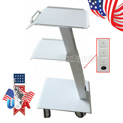 3-shelf Dental Built-in Socket Tool Cart Mobile Instrument Trolley With Brakes