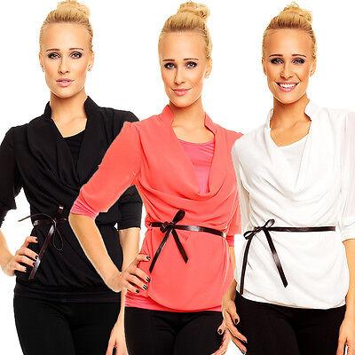 Gürtel Top Shirt (Schöne Chiffon Bluse Tunika Shirt Top mit Gürtel Einheits-Größe 34 36 Party Büro)