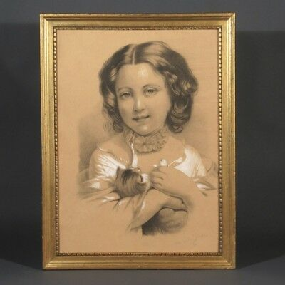 Antique French Drawing, Young Girl, Cat, Kitten, Signed Marie-L. Genillon, 1893