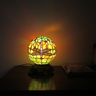 Tiffany Style 1 Bulb Globe Dragonfly Stained Glass Desk Table Lamp - Tiffany 1 Bulb