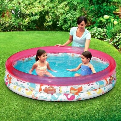 3-Ring Inflatable Pink Ocean Play Kids Toddler Swimming Pool Outdoor Swim Center