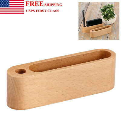 Wood Business Card Holder Name Id Credit Card Stand Desk Display For Home Office