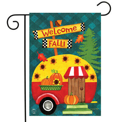 "Welcome Fall Camper Garden Flag Primitive Autumn Humor 12.5""x18"" Briarwood Lane"