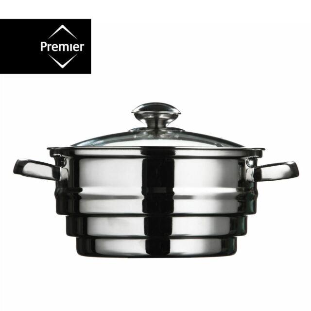 Stainless Steel FOOD STEAMER Vegetable Strainer Steaming Pot Saucepan GLASS LID