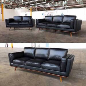 MAYFAIR GENUINE LEATHER SOFA SET (BEST SELLER) BLACK Dandenong South Greater Dandenong Preview