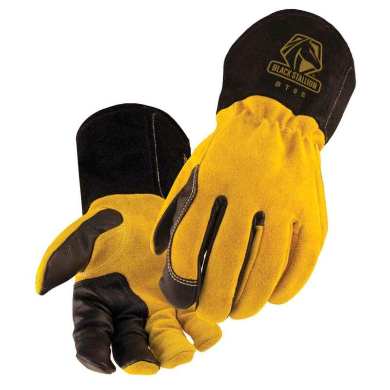 Black Stallion BSX BT88 Xtreme Kidskin/Cowhide TIG Welding Gloves Large