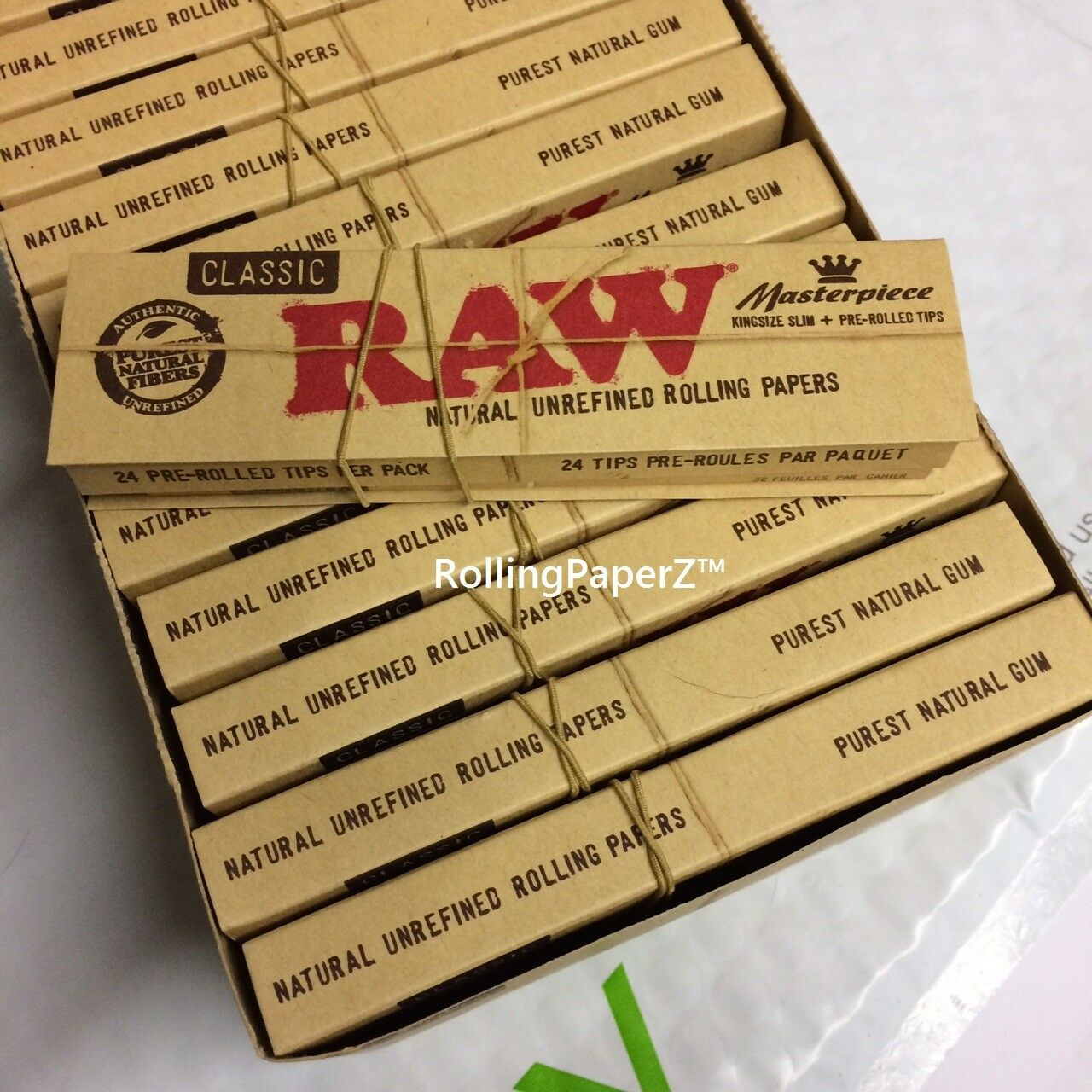 2X RAW Masterpiece King Size Papers & Tips+Rolling Machine+Storage Tube+Lighter