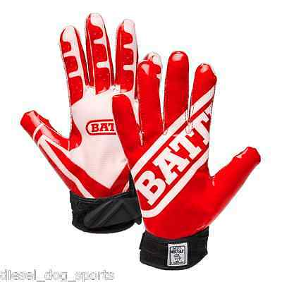 Battle Sports Ultra-Stick Football Receivers Gloves (PAIR) Red/White