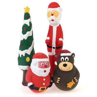 Christmas 4PCS Squeaky Latex Dog Toys Santa Claus Bear and Tree Interactive Toy