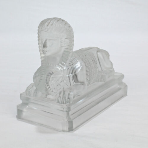 Antique Saint Louis French Egyptian Revival Frosted Glass Sphinx Paperweight -GL