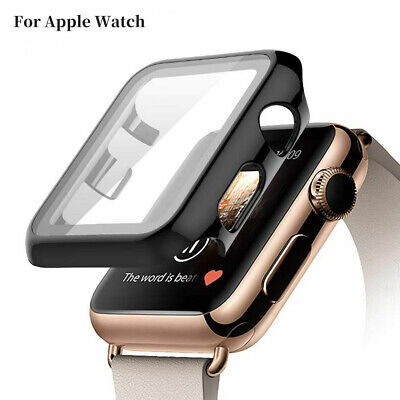 For Apple Watch Series 5 4 3 2 1 44MM Case Cover Tempered Glass Screen Protector