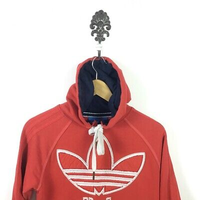Vintage Red Adidas Hoodie - Ladies Size S. Large Embroidered Logo
