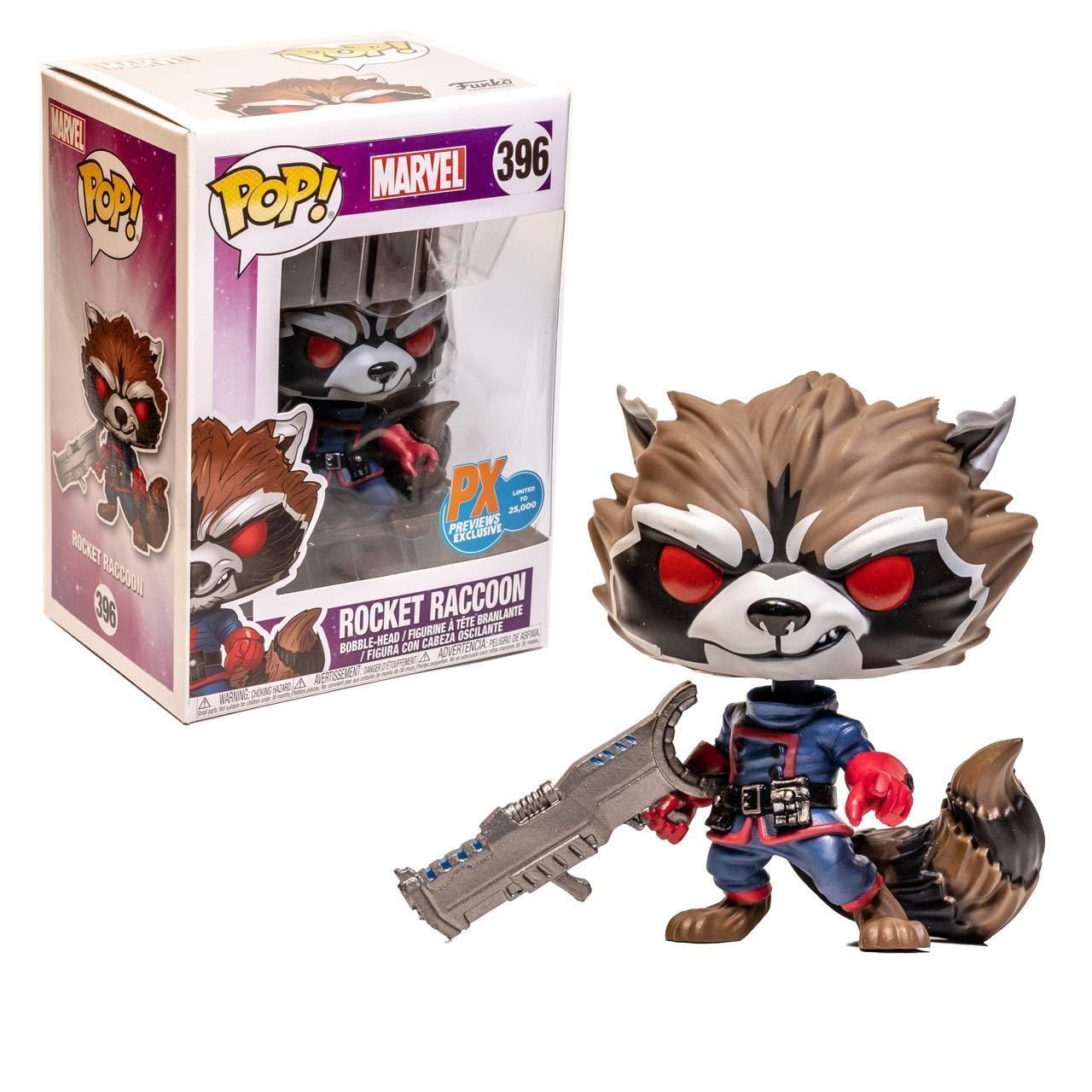 Funko Pop Marvel Gotg Comic Rocket Raccoon Classic Px 4 Inch Vinyl Guardians Of The Galaxy Super Deluxe Figure Stock Photo