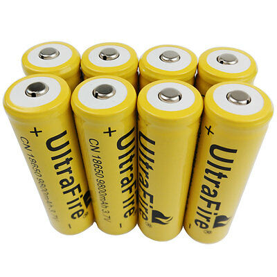 8 X 3.7V 18650 9800mAh Li-ion Rechargeable Battery For Flashlight Torch LED