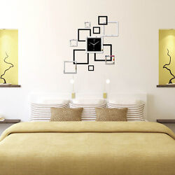 Modern DIY Large Wall Clock Home Office Room Decor 3D Mirror Surface Sticker Hot