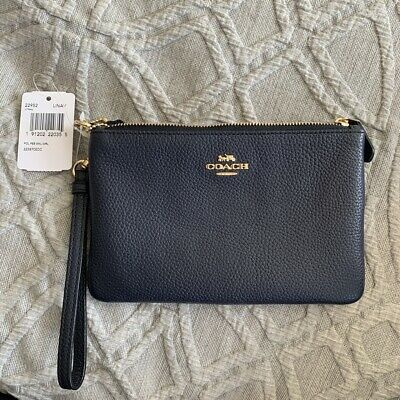 Coach Navy Leather Wristlet Bag with Gold detailing