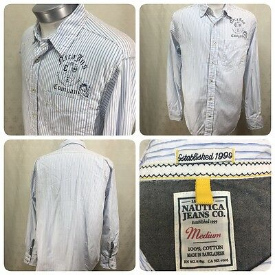 NAUTICA Jeans Mens Size Medium M Blue Striped Button Down Shirt Graphic     Gr1