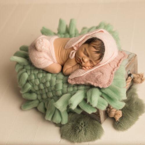Newborn Studio Photography Prop Baby Square Backdrop Blanket Background Knit Mat