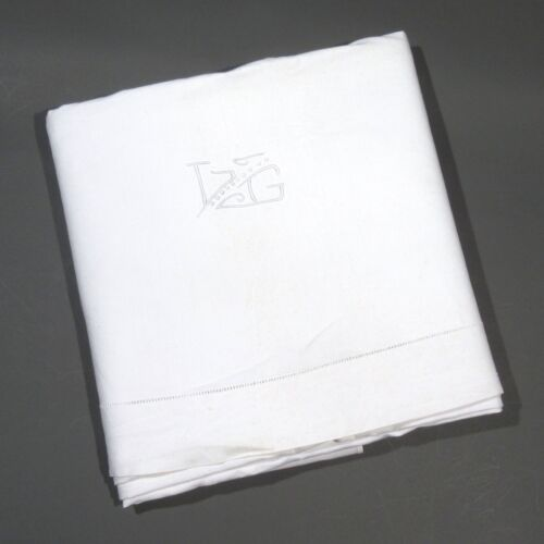 """AntiqueFrench Sheet, Monogrammed """"L.G."""", 114 ¼ x 84 ¼ Inches"""