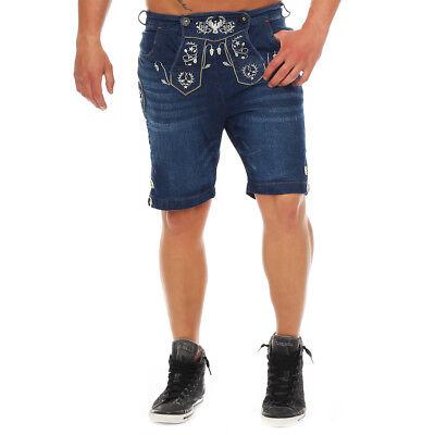 Wanderwald Herren Denim Short Premium Falke Trachten Jeans Lederhosen Stil