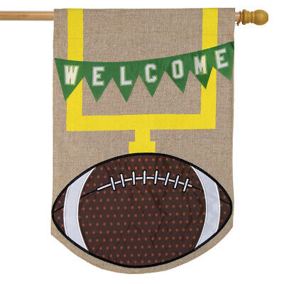 Football Fall Burlap House Flag Goal Post 28