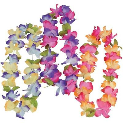 Lot of 12 Mahalo Flower Leis Hawaiian Luau Tropical Beach Wedding Favors