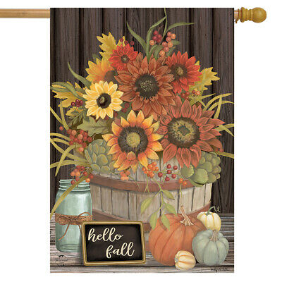 "Hello Fall Floral Primitive House Flag Autumn Sunflowers 28""x40"" Briarwood Lane"