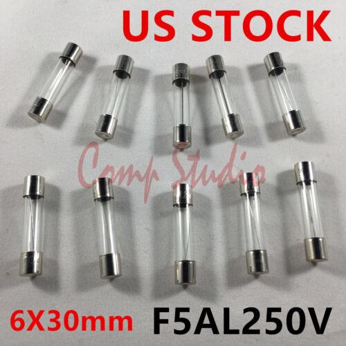 10pcs/lot F5AL250V 5A 250V Fast-Blow Fuse 5 amp Quick Glass Tube 6X30mm