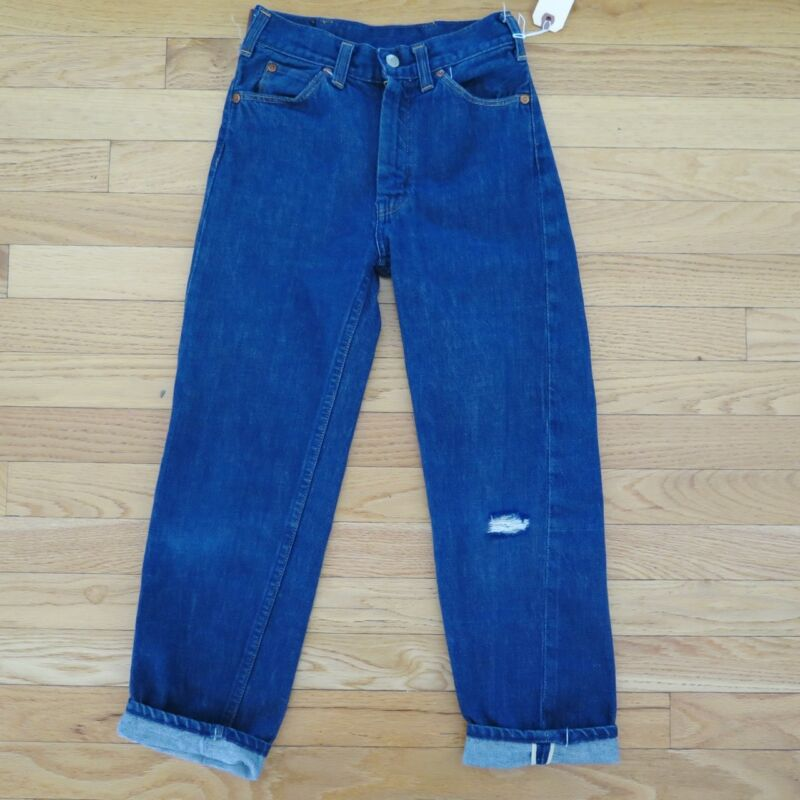 VINTAGE ORIGINAL DENIM JEANS PANTS FOREMOST SELVEDGE  KIDS SIZE 8 1950