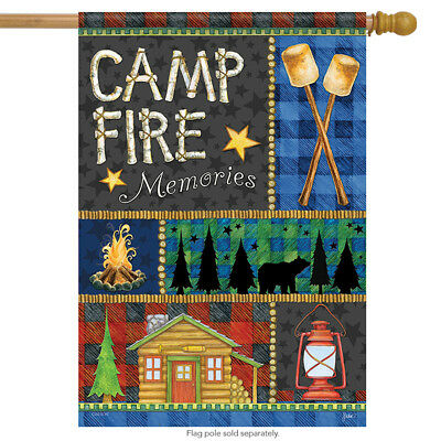 Campfire Memories Summer House Flag Cabin Bear Woods Marshmallows  28