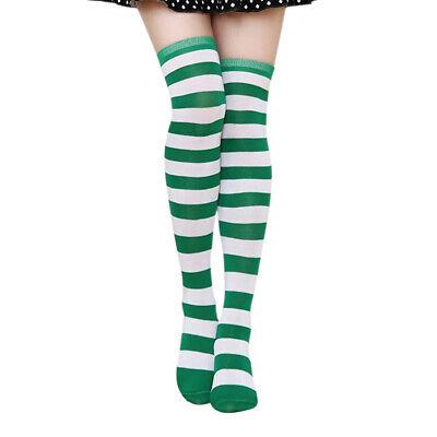 Women St Patricks Day Green & White Striped High Over The Knee Tube Socks Fancy - St Patricks Day Socks