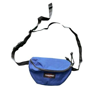 Vintage Eastpak Made In USA Blue Fanny Pack Two Zippers