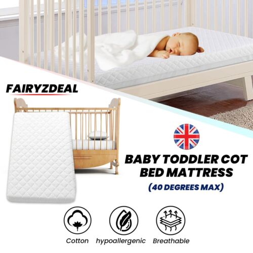 Baby Toddler Cot Bed Mattress Quilted Breathable With Removable Cover ALL SIZES