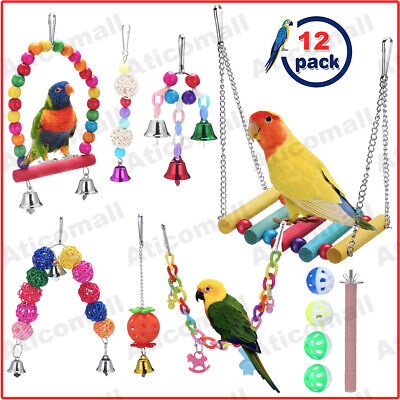 12pcs/set Beaks Metal Rope Small Parrot Toys Budgie Cockatiel Cage Bird Toy UK