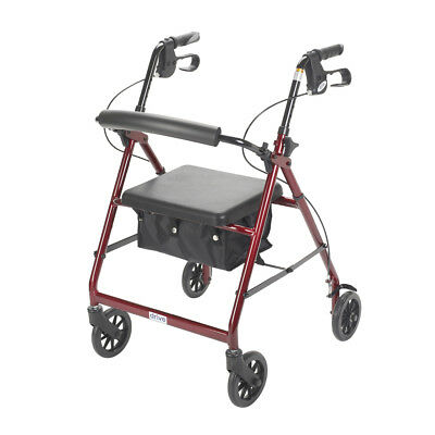 Drive Medical Red Aluminum 4 Wheel Rollator with Brakes, Padded Seat, Bag NEW ()